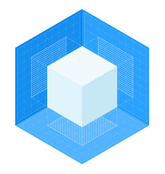 3d cube projections on blueprint isometric vector