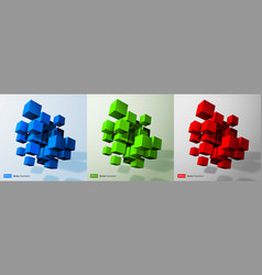 3d cubes set blue green red 3d cube collection vector image