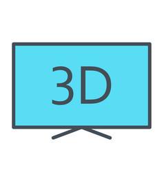 3d television line icon tv video symbol vector image