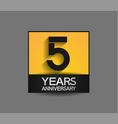5 years anniversary in square yellow and black vector