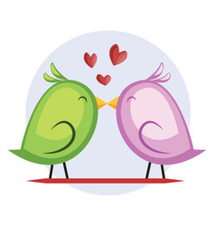 a green bird and a violet bird kissing in light vector image