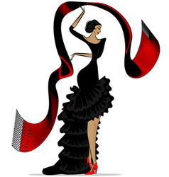 Abstract flamenco with scarf vector