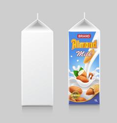 almond milk in paper package box cardboard pack vector image