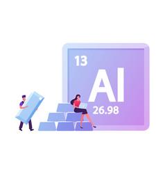 Aluminium mendeleev table chemical element tiny vector