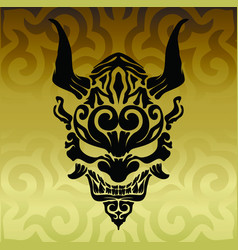 Amazing japanese demon oni with horns and fangs vector