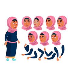 Arab muslim teen girl teenager positive vector