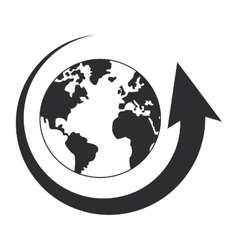 Arrow and planet earth icon vector