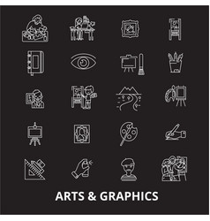 arts graphics editable line icons set on vector image