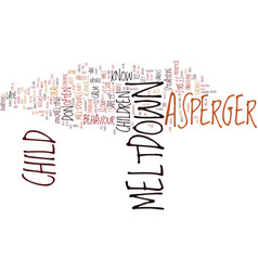 asperger syndrome children and tantrums text vector image