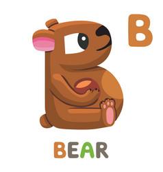 B is for bear letter bear cute animal alphabet vector