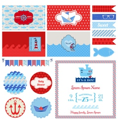 Baby Shower Nautical Set - for Party Decoration vector image