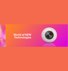 Background with webcam surveillance camera vector