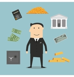 Banker profession and financial icons vector