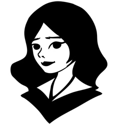 Black-and-white portrait of a pretty girl drawing vector