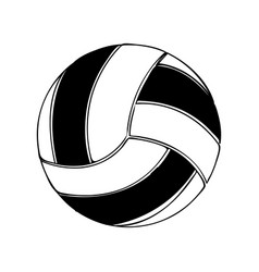 black silhouette volleyball ball element sport vector image