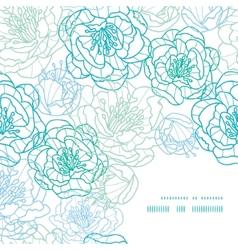 Blue line art flowers frame corner pattern vector