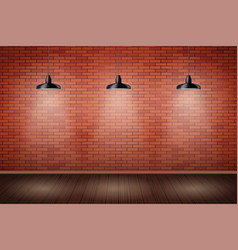 Brick wall room with vintage lamps vector