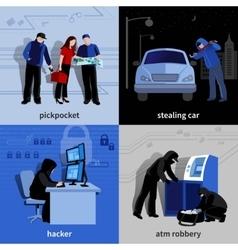 Burglar 2x2 Icons Set vector image