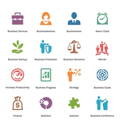 Business Icons Set 1 - Colored Series vector image