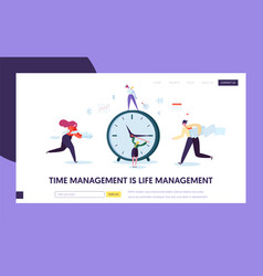Business time management concept landing page vector