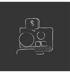 Business video negotiations Drawn in chalk icon vector image