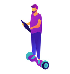businessman riding hoverboard and working on vector image