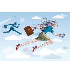 Businesswoman Running Through Clouds vector image