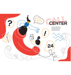 Call center - colorful flat design style web vector