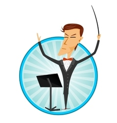 cartoon man conducting an orchestra vector image