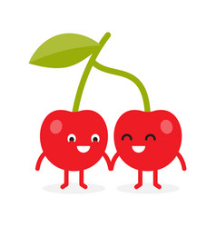 cherries cherry cute fruit character vector image