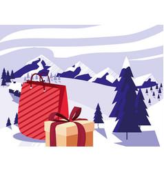 christmas gift box and tree vector image