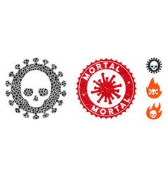 Collage mortal virus icon humpy parts vector