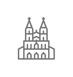 Cologne cathedral landmark german line icon vector