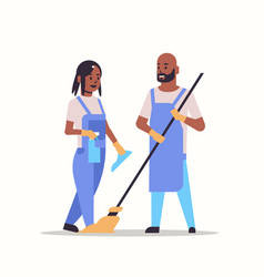 couple man woman in uniform cleaning service vector image