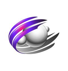 creative abstract 3d orbit sphere logo design vector image