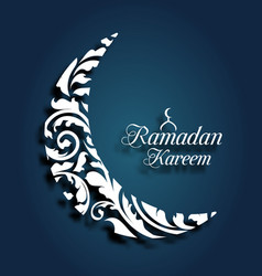 crescent islamic for ramadan kareem ornamental vector image