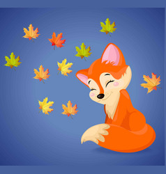 Cute fox cartoon character autumn seasonal vector