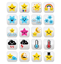 Cute weather kawaii buttons star rainbow moon vector