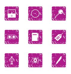 Cyborg icons set grunge style vector