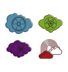 danger cloud icon set color outline style vector image