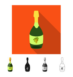 Design bottle and champaign sign set of vector