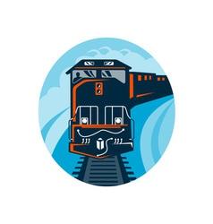Diesel train traveling on tracks vector