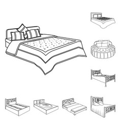 Different beds outline icons in set collection for vector