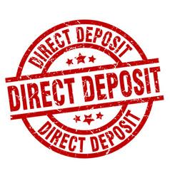 Direct deposit round red grunge stamp vector