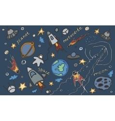 doodle set cosmos vector image
