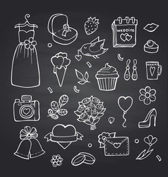 Doodle wedding elements set on black vector