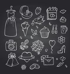 doodle wedding elements set on black vector image