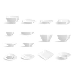 Empty white plates set isolated vector
