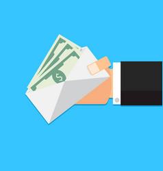 Envelope with money cash in hand vector