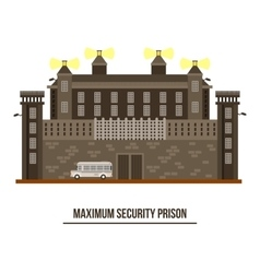 Exterior view on prison buildingjail architecture vector